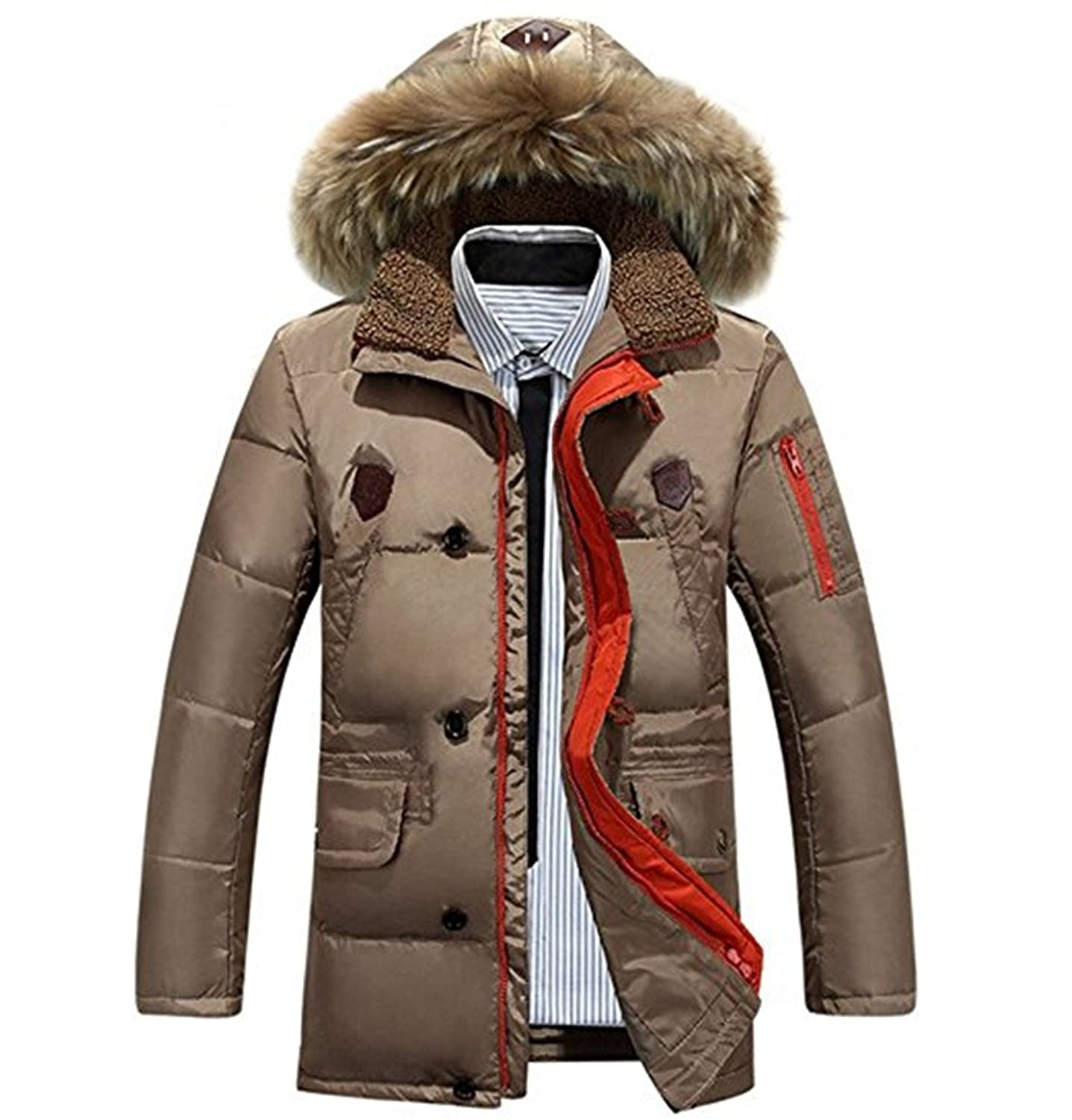 ZSXJZYCC Men's Long Thick Warm Hooded White Duck Down Jacket