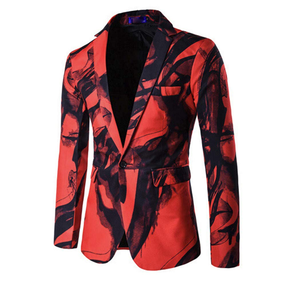 Faionny Men Printed Suit Slim Lapel Jacket Coat Single Button Suit Coat Long Sleeve Parka Autumn Winter Outwear