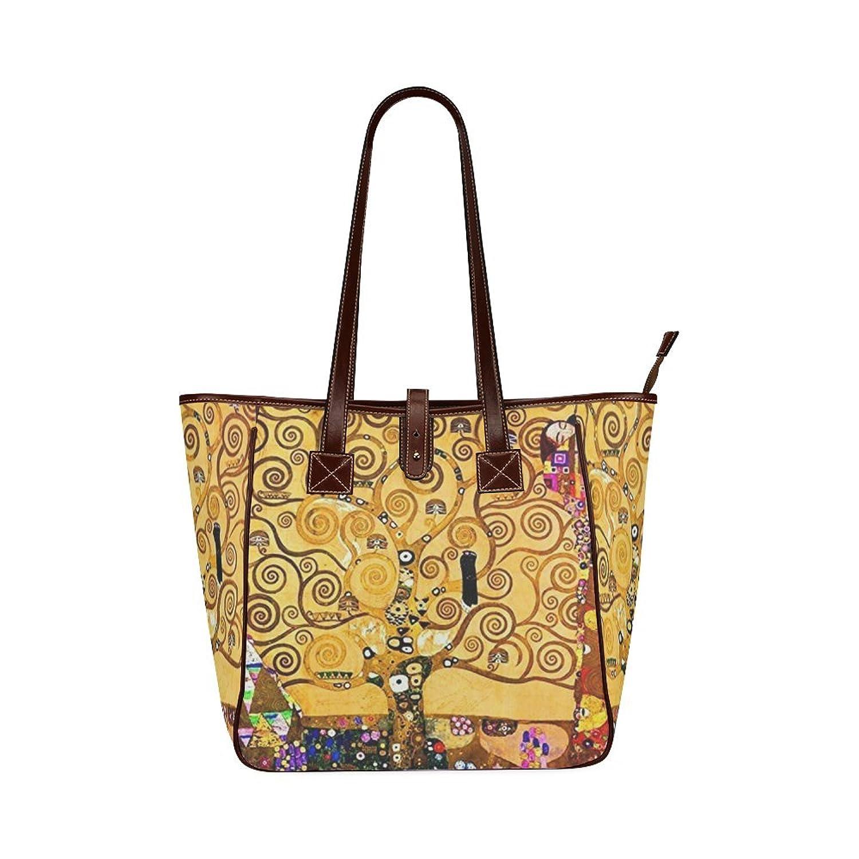 Custom Art Print Klimt Tree Of Life Classic Leather Tote Bag/Handbag/Shoulder Bag for Women Girls By Boom~Shakalaka