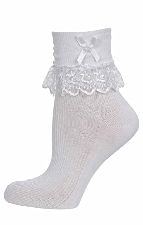 Girls Kids Lace Bow Frilly School Socks 9-12 Size 12 Pairs