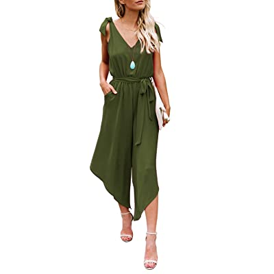 BELONGSCI Women Outfit Sleeveless Shoulder Bandage Waistband Sexy V-Neck Wide Leg Long Jumpsuit with Belt: Clothing