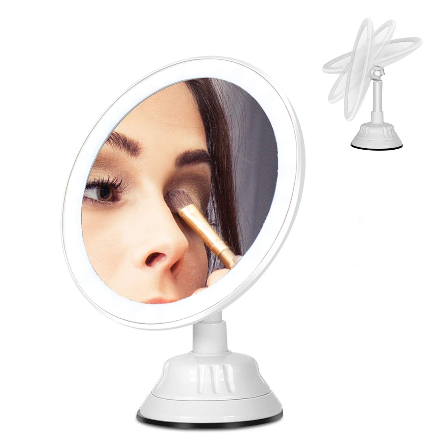 Miroir de maquillage, 7X grossissant miroir de maquillage LED, 360 degré de rotation, avec ventouse base, interface de chargement USB, 3 niveaux de LED réglage de la lumière naturelle, portable, amovible TONGYANG