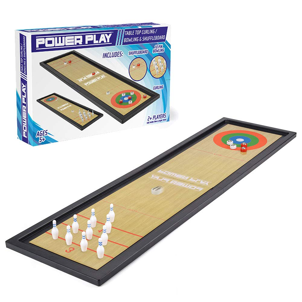 Power Play TY6004 Table Top Family Game 3-in-1 Curling, Bowling and Shuffleboard, Black by Power Play