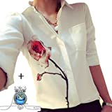 Yoyorule Spring Rose Flower Women Elegant Long Sleeve Chiffon Shirts Blouse