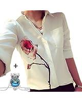 Yoyorule Spring Rose Flower Women Elegant Chiffon Shirts Blouse