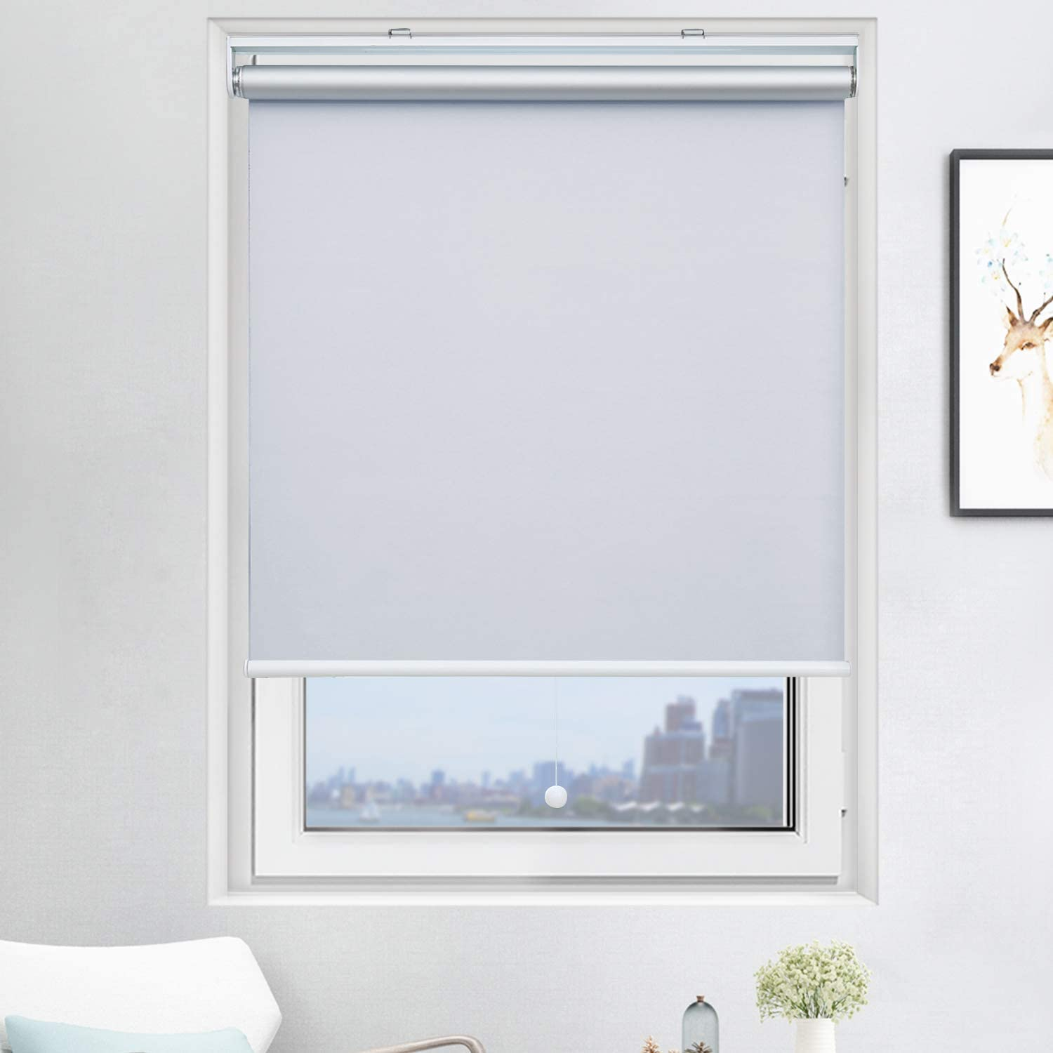 Acholo Blackout Roller Shades Cordless Window Blinds (White, 23 x 72 Inch) and Room Darkening Shades for Home & Windows