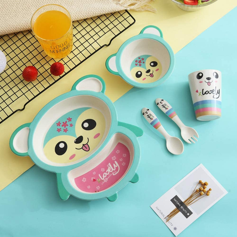 New Animal 5 Set Baby Tableware Dish Bowl Fork Spoon Cup Set Natural Bamboo Fiber Bowls Cute Cartoon Child Feeding Tableware Kid Dinnerware-Khaki