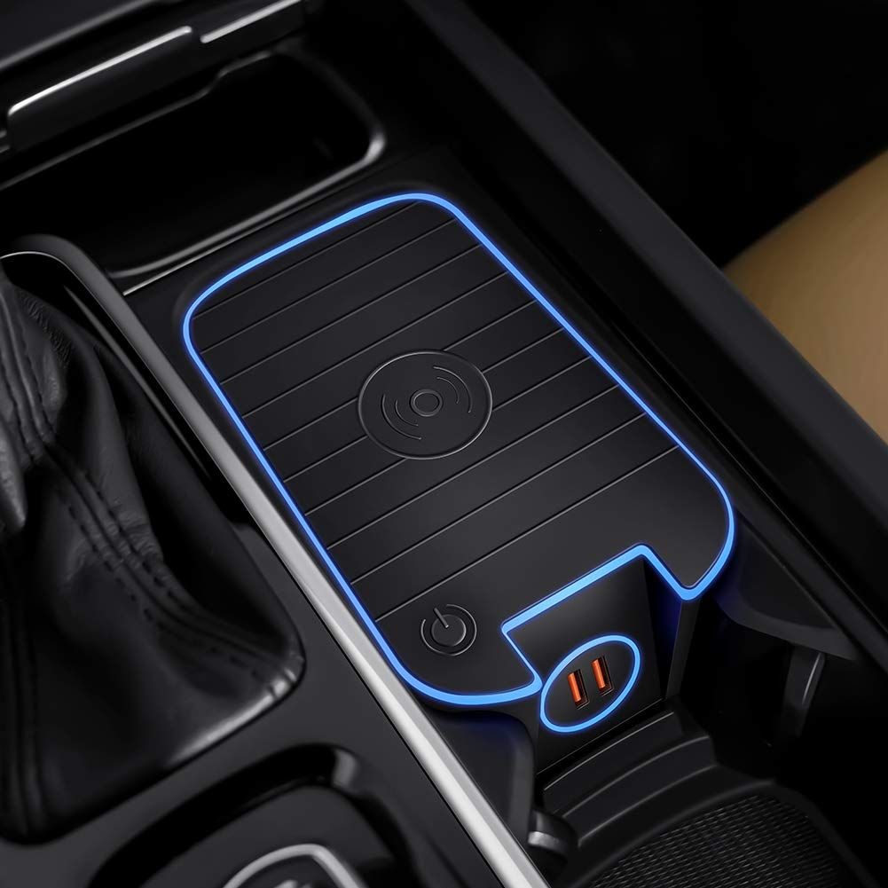 Car Wireless Charger Mount fit for Volvo XC90,XC60,S90L,V90 2017 2018 2019, QC 3.0 Fast Charging Compatible with iPhone Xs,XR,X,8, fit for Samsung S9+,S9,S8,S7,Note 8,Wireless Charging Devices by CLEC