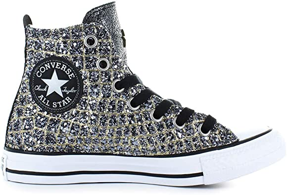 Converse Chaussures Femme Baskets All Star Croco Or Argent ...