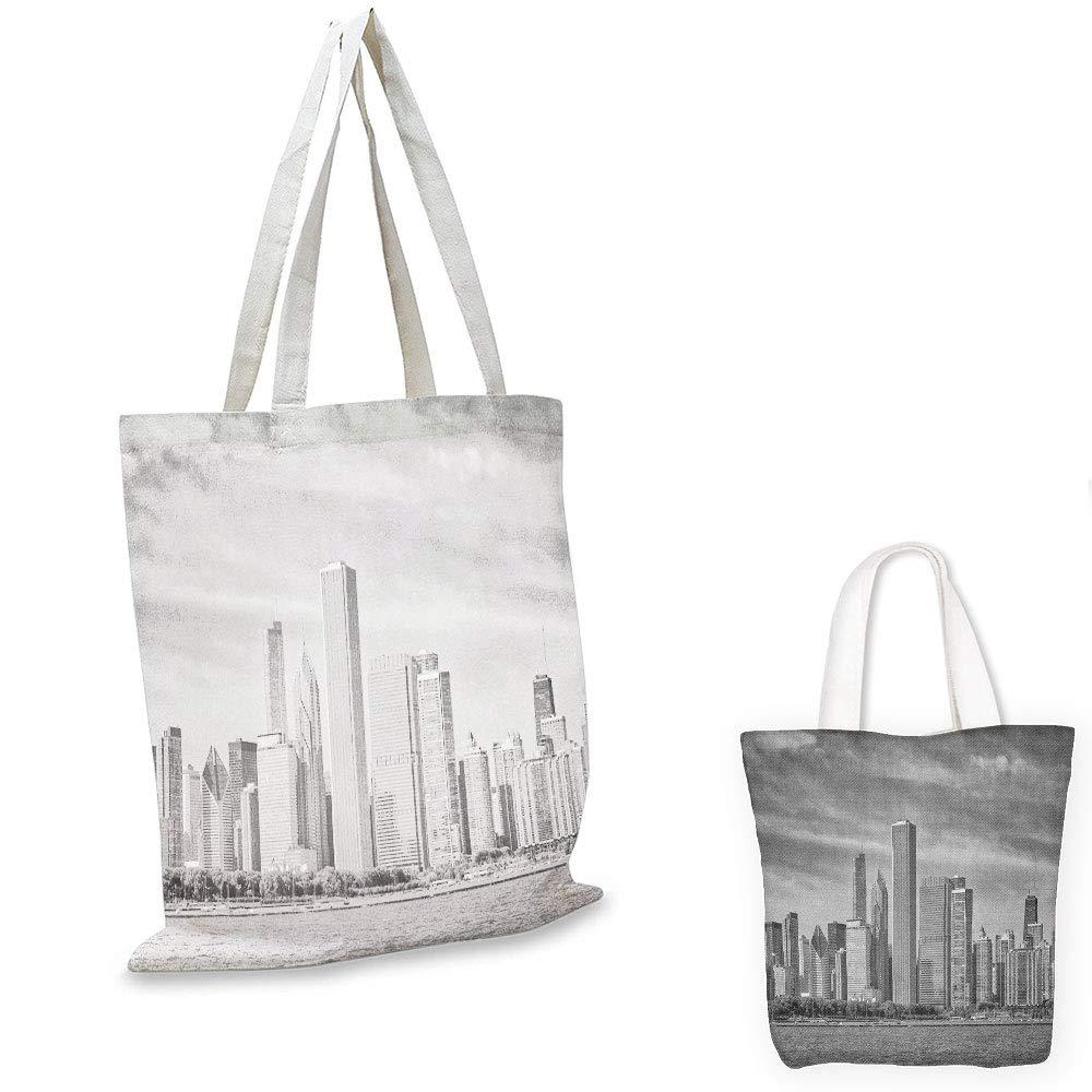 grocery bags Chicago Skyline Black and White Filtered Photo of Waterfront Cityscape on a Cloudy Day Print Grey travel shopping bag