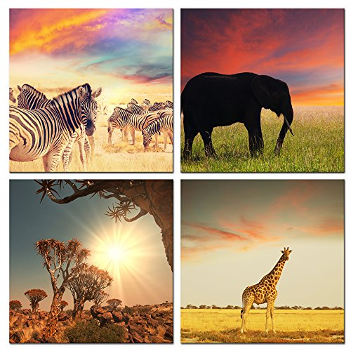 Live Art Decor - Wild Animal Canvas Wall Art - African Sunrise Painting,Zebra,Elephant,Giraffe Picture Photo Canvas Prints - Framed Artwork for Home Living Room Wall Decoration (For Wall Picture Zebra)