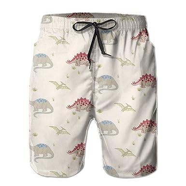 58734d43f1d8d Image Unavailable. Image not available for. Color: Men's Cartoon Cute Dinosaur  Pattern Swim Trunks ...