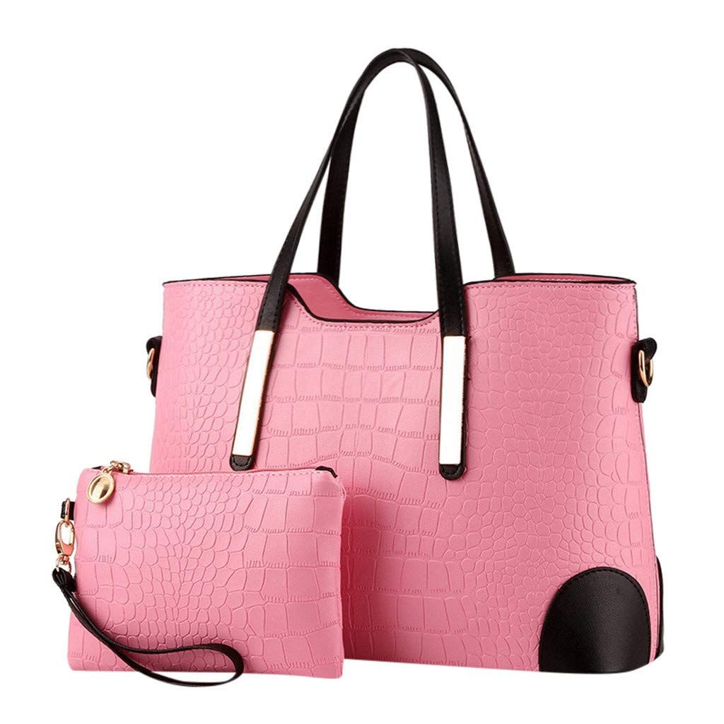 Dressin 2Pcs Handbag+Wallets Womens Ladies Pattern Pure and Solid Color Hobo Bags
