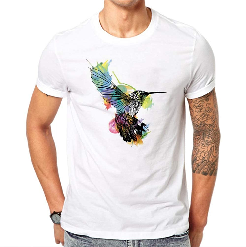 Camiseta para Hombre, Algodón Moda De Verano Diseño De Aves Camiseta Masculina Linda Kawaii Acuarela Tops Hipster Camisetas Blancas Casual Hombres De Manga Corta XXXL: Amazon.es: Ropa y accesorios