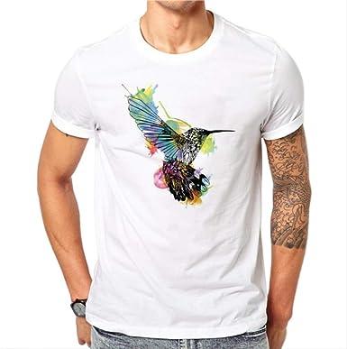 Camiseta para Hombre, Algodón Moda De Verano Diseño De Aves ...