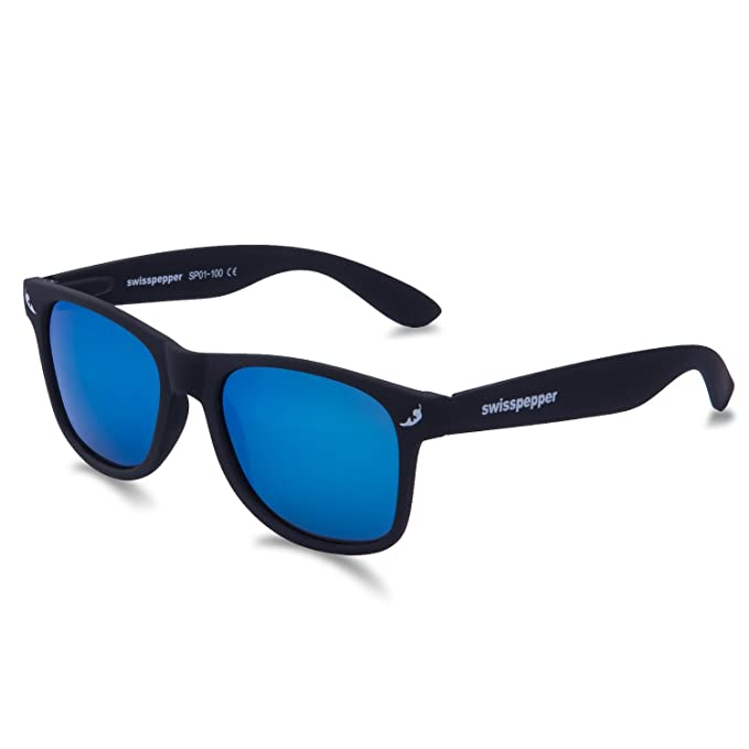 1f05a774b41d Amazon.com  swisspepper Sunglasses BLACK - BLUE Lens  Clothing