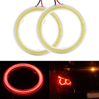 Everbrightt 1-Pair Red 60MM 45SMD LED Vehicle Car Angel Eyes Halo Ring Lights Lamps with Shell: Automotive