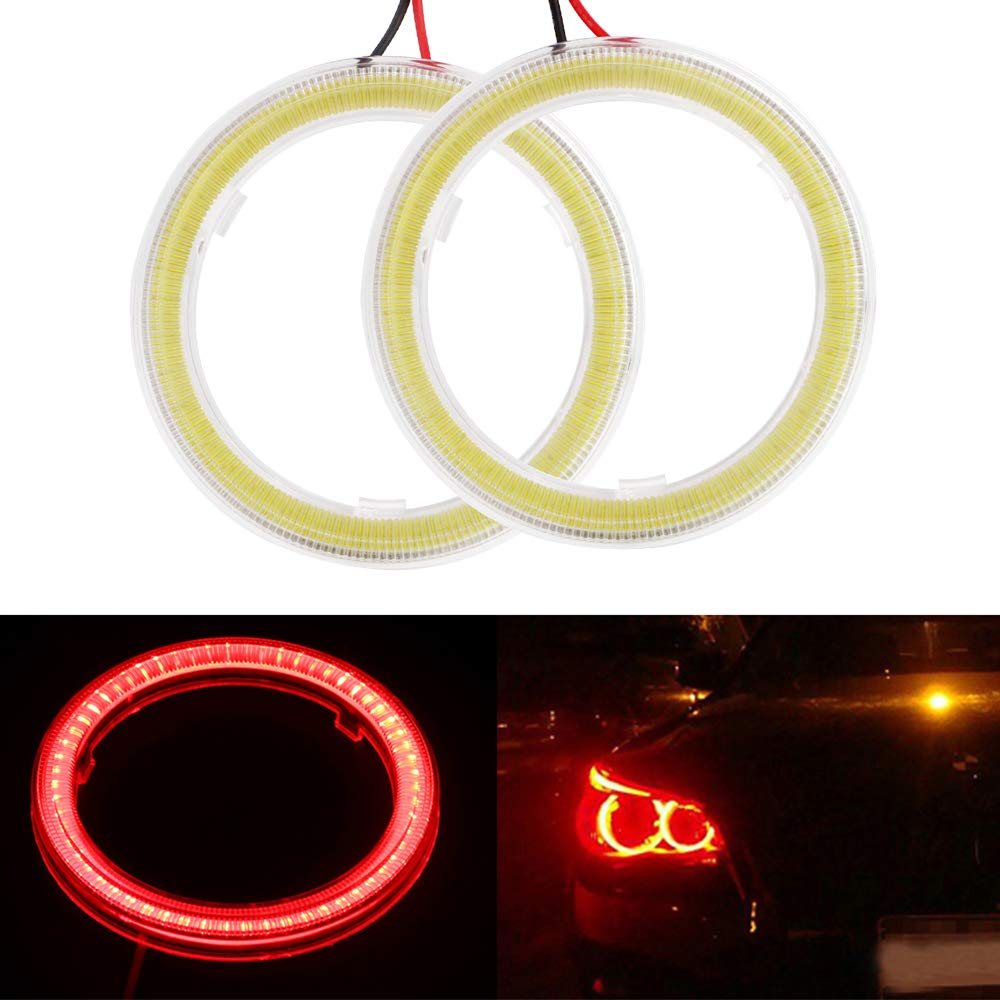 Everbrightt 1-Pair White 60MM 45SMD LED Vehicle Car Angel Eyes Halo Ring Lights Lamps with Shell
