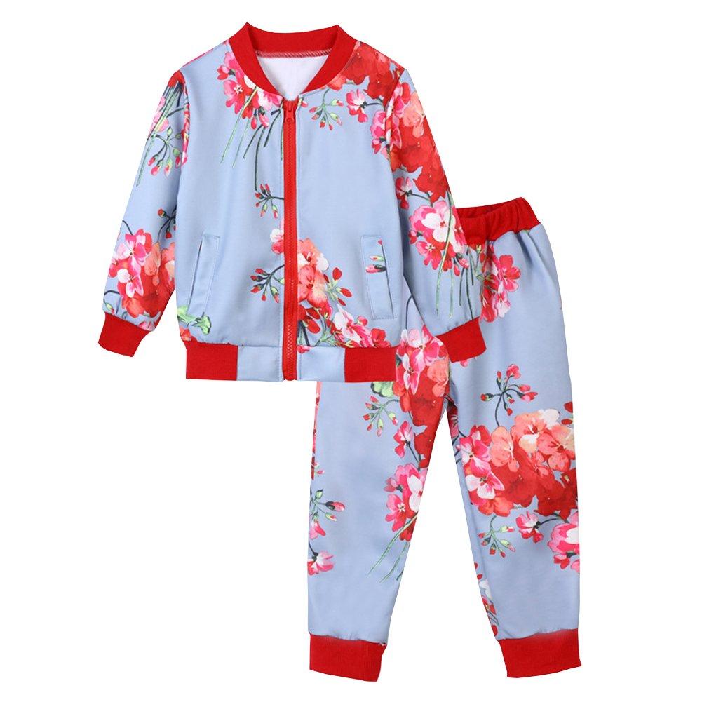 M&A Girls Outfit Autumn Floral Jacket and Long Pants Set 2pcs