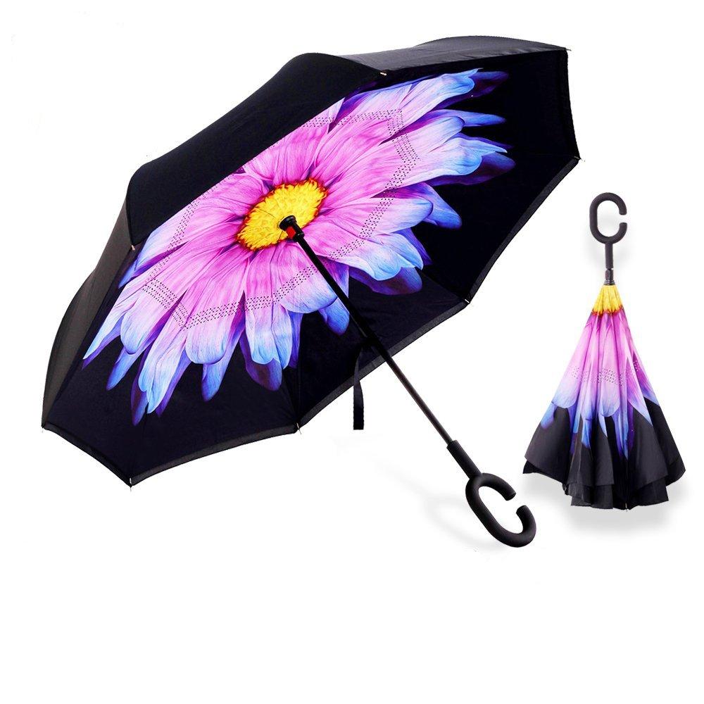 Aogolouk double couche inversé Parapluie avec poignée en forme de C, coupe-vent Parapluie pliable inversée, anti UV Parapluie pliant, Self debout, les mains libres (Fleur Mauve)