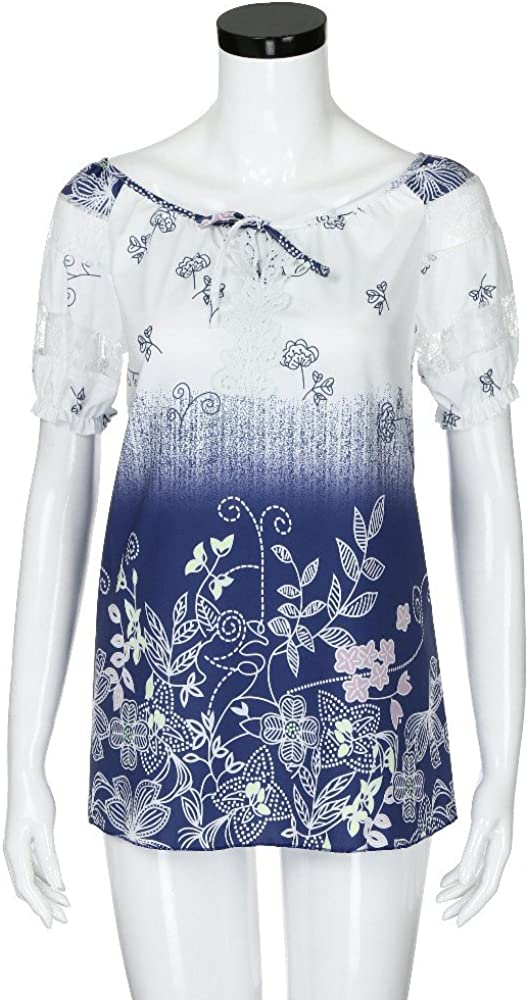 NREALY Blusa Womens Casual Floral Printed Button T-Shirt Chiffon Irregular Hem Top Blouse