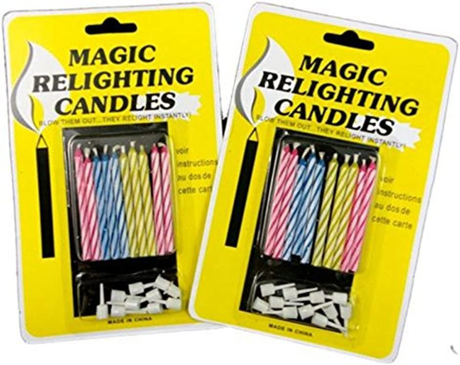 Wendy Cai 20pcs Magic Relighting Candles Funny Tricky Birthday Eternal Blowing Candles Party Joke Cake Decors Xmas Gift
