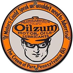 Brotherhood Oilzum White and Bagley Co. Vintage Gas Signs Reproduction Car Company Vintage Style Metal Signs Round Metal Tin Aluminum Sign Garage Home Decor with 2 American Flag Vinyl Decals