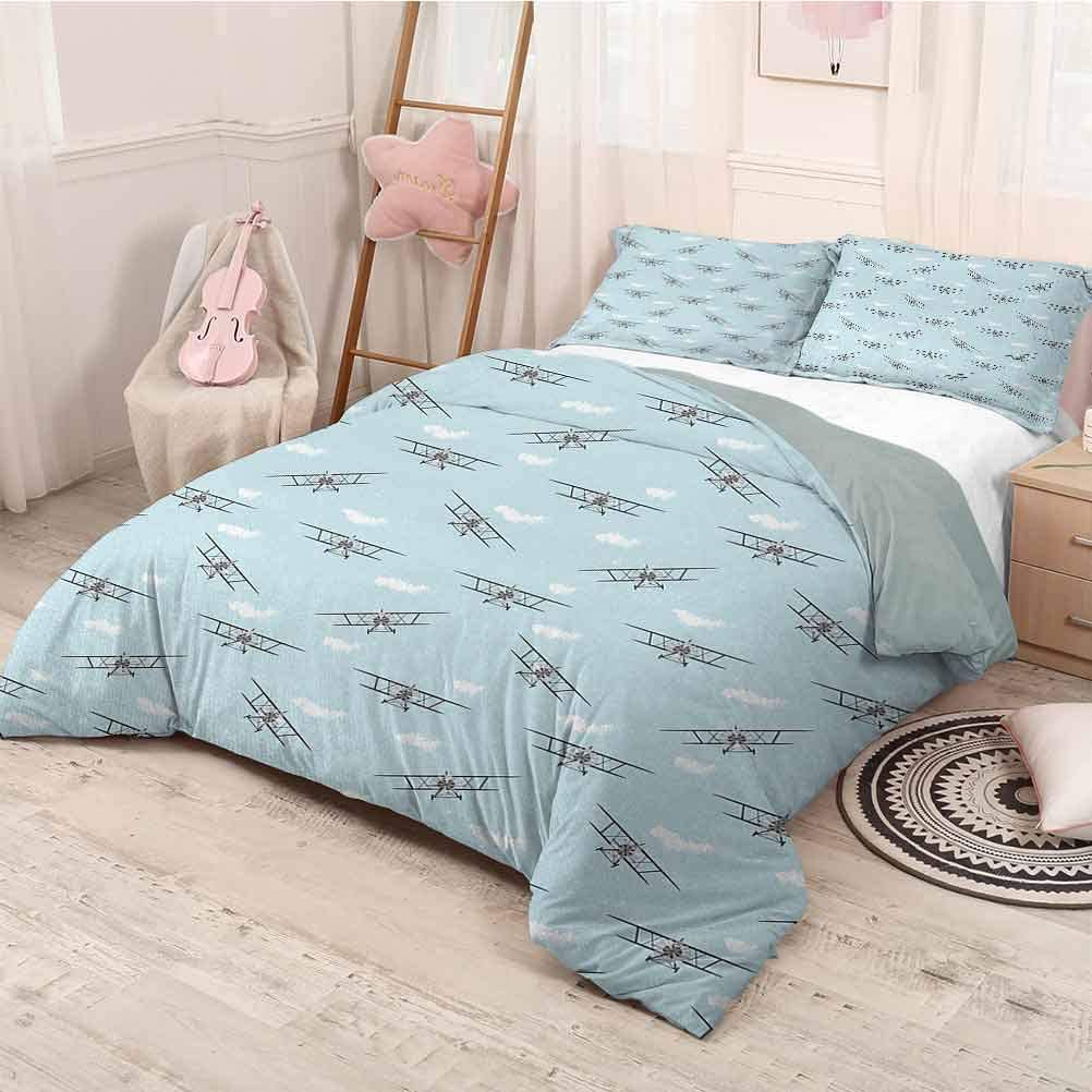 prunushome Airplane 3 Pieces for Quilt Cover Pillow Case Old Aircraft Biplanes in Blue Sky Speedy Propellers Wings Retro Design Funny Sleeping Fashion Pale Blue Black White King