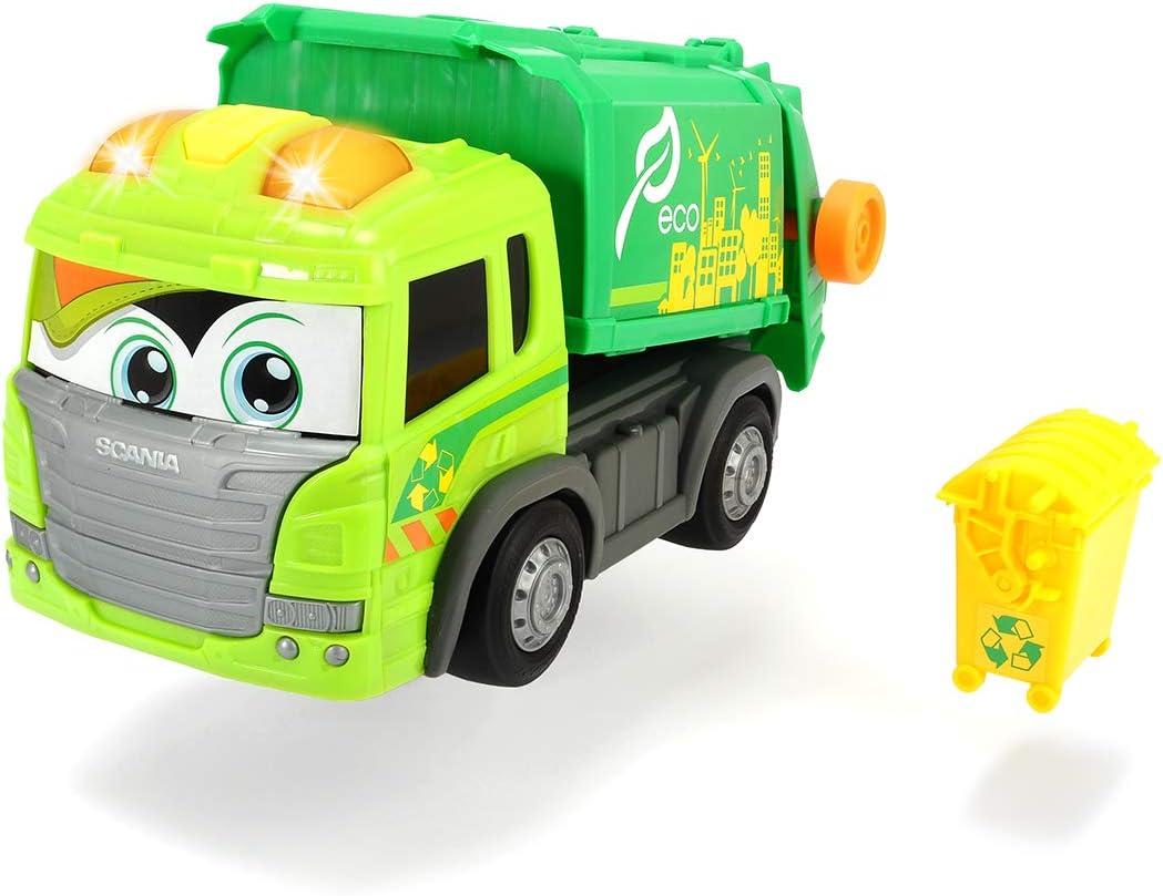 Dickie Toys Juguete Happy Series-Camión de Reciclaje Scania 25cm-motorizado-luz y Sonido-Plataforma móvil (Dickie 3814015), Color Verde, 25 cm