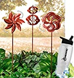 HomeCricket Gift Included-  Garden Wind Spinners Rustic Copper Windmill Lawn Decoration Set of 3 + FREE Bonus Water Bottle by Home Cricket