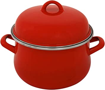 Emaille Kochtopf mit Deckel rot schwarz 18 cm Topf Kochen Suppentopf Induktion