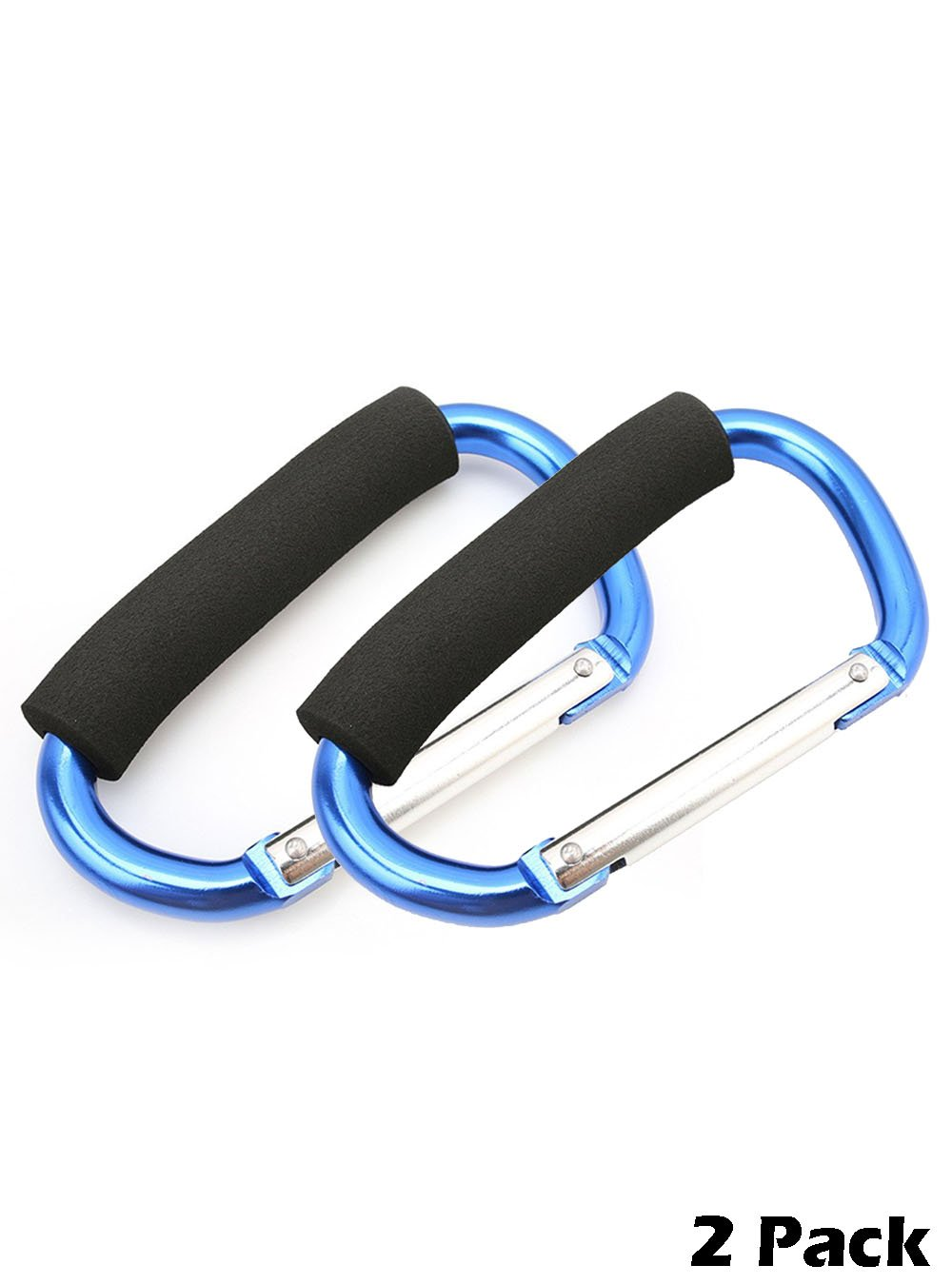 Snowmanna- Assorted Colors Large D Type Shopping Bag Hook Clip Carry Handle Carabiner with Sponge for Baby Pushchair Pram Stroller Hanger Trolley Mummy Clip Holder (light blue(2pcs))