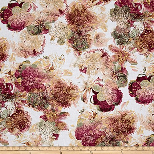Rose Floral Fabric (Benartex Kanvas Floral Impressions Photo Rose Fabric by the Yard, Cream)
