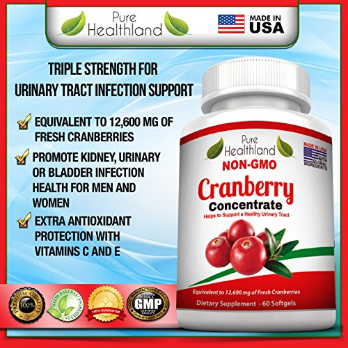 Non GMO Cranberry Concentrate Supplement Pills for Urinary Tract Infection UTI. Equals 12600mg Cranberries. Triple Strength Kidney Bladder Health for Men & Women. Easy to Swallow Softgels, 6 Bottles by Pure Healthland (Image #7)
