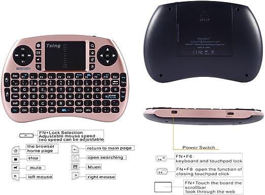 Tsing Mini Teclado Inalámbrico 2.4GHz (Disposición en Español) con ratón touchpad (Oro Rosa): Amazon.es: Electrónica