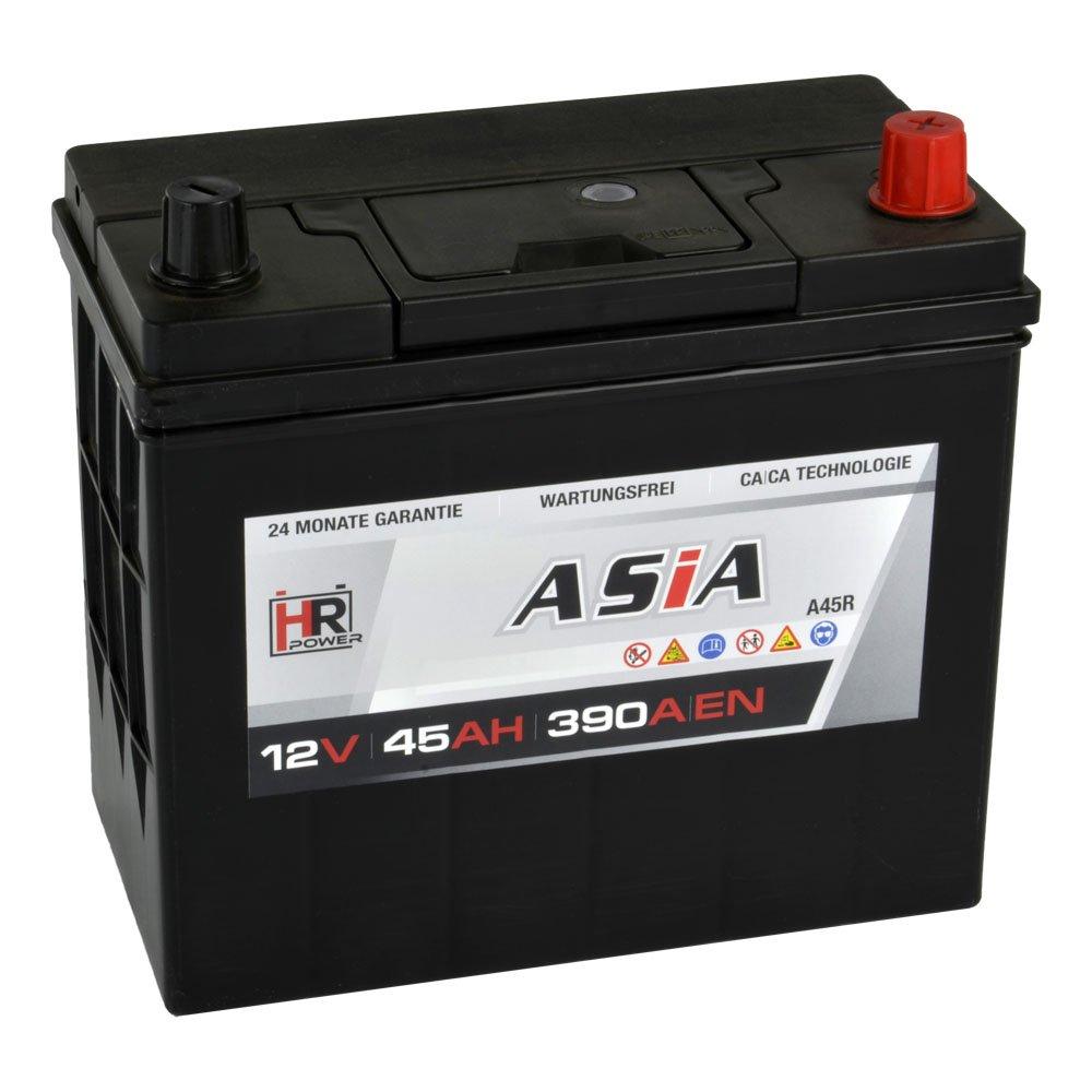 HR HiPower ASIA Autobatterie 12V 45Ah Japan Pluspol Rechts Starterbatterie ersetzt 35Ah 40Ah 50Ah