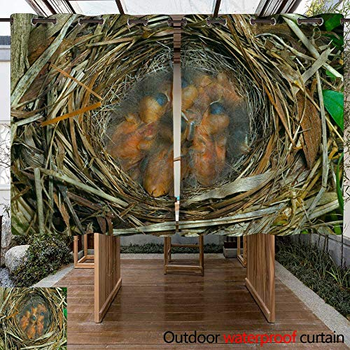 WinfreyDecor Home Patio Outdoor Curtain Nest of Bunting W63 x L72
