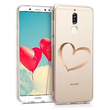 kwmobile Funda para Huawei Mate 10 Lite - Carcasa Protectora de [TPU] con diseño Dibujo de corazón en [Oro Rosa/Transparente]