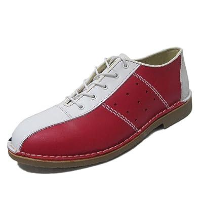be892e7e06394 Ikon - Chaussures de bowling pour homme - cuir - style 1960 - rouge blanc