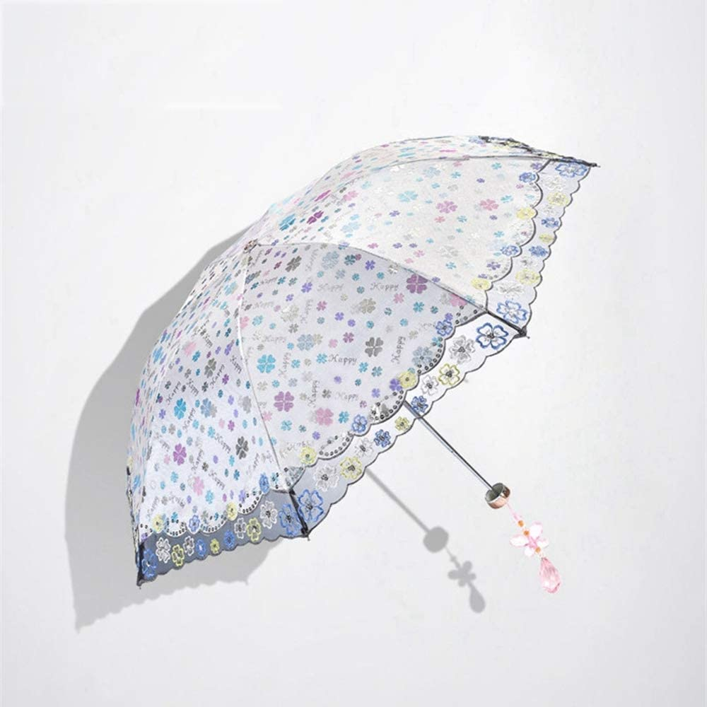 ZhiGe Foldable Umbrella,Flower Umbrella Three-Folding Color Coating Sunny /& Rainy Umbrella Parasol Anti UV40 Anti-uv Sun//Rain Hand-Made Umbrella
