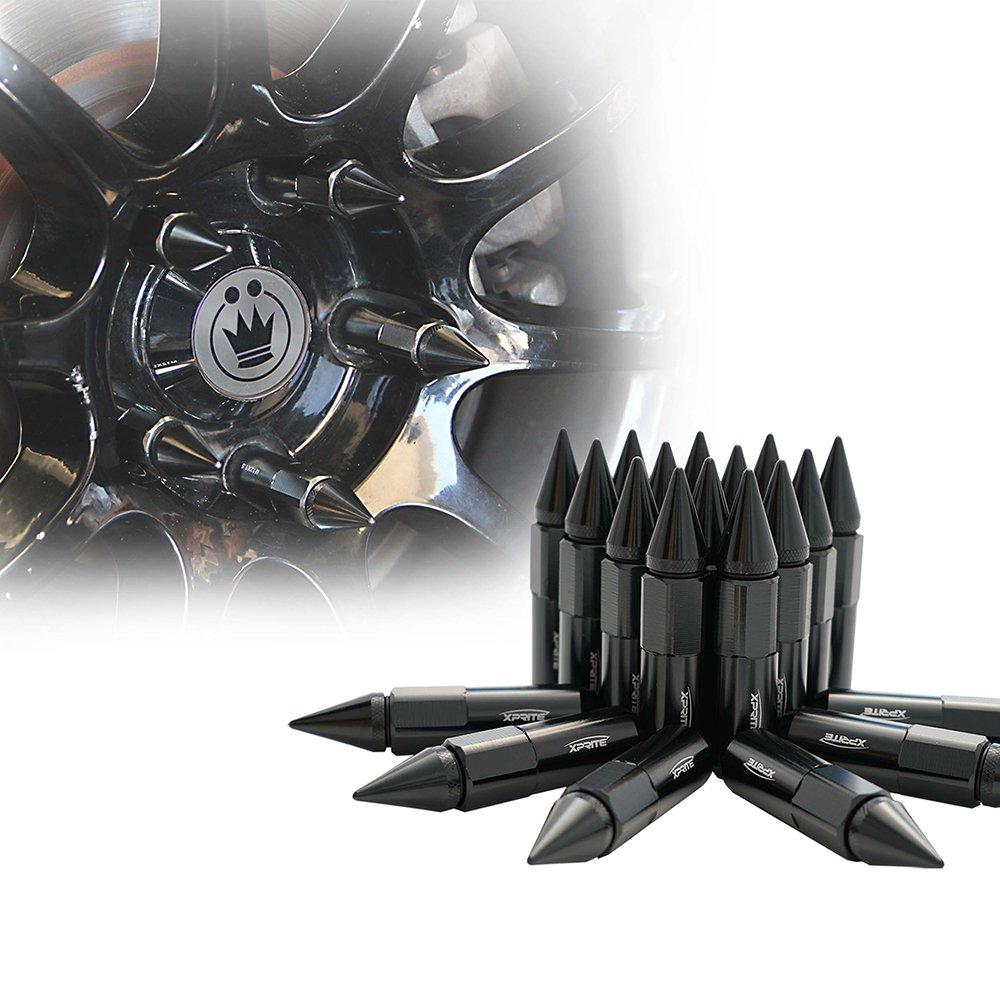 Xprite Black Aluminum 90mm Spike Extended Nut Refit Wheel Lug Nuts/Tire Screw M12x1.5