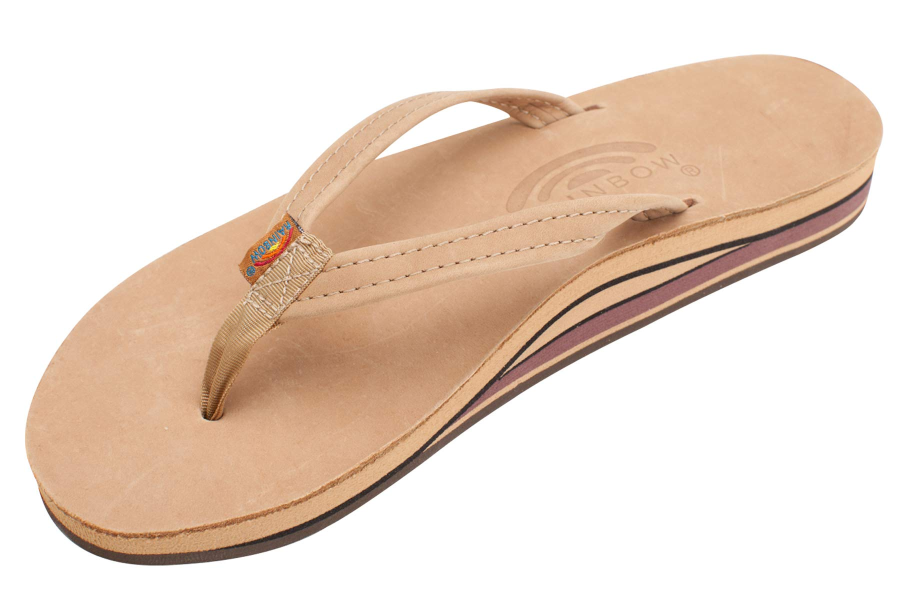 Rainbow Womens Premier Leather Double Stack Narrow Strap Sandals Sierra, Brown,Large/7.5-8.5 B(M) US by Rainbow Sandals