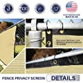 Windscreen4less Heavy Duty Privacy Screen Fence in Color Beige with White Strips 5' x 50' Brass Grommets w/3-Year Warranty 130 GSM (Customized Sizes Available)