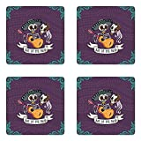 Ambesonne Day of The Dead Coaster Set of Four, Invitation to Traditional Celebration Party with Mexican Music Performance, Square Hardboard Gloss Coasters for Drinks, Multicolor