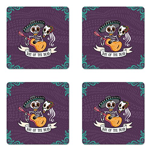 Ambesonne Day of The Dead Coaster Set of Four, Invitation to Traditional Celebration Party with Mexican Music Performance, Square Hardboard Gloss Coasters for Drinks, Multicolor by Ambesonne