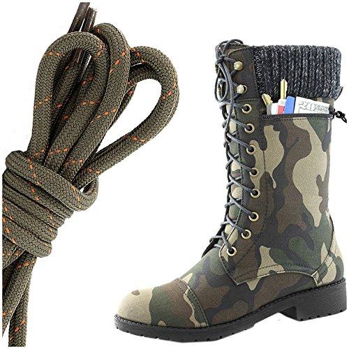 Dailyshoes Womens Style De Combat Lacets Cheville Bottine Bout Rond Militaire Knit Carte De Crédit Couteau Argent Poche Portefeuille, Olive Orange Camouflage Cv