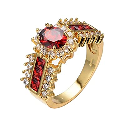 1155b48aa471ee UOKOHO Red Jewelry Red Rings for Women Engagement Wedding Band 10KT Yellow  Gold Filled Crystal Ring