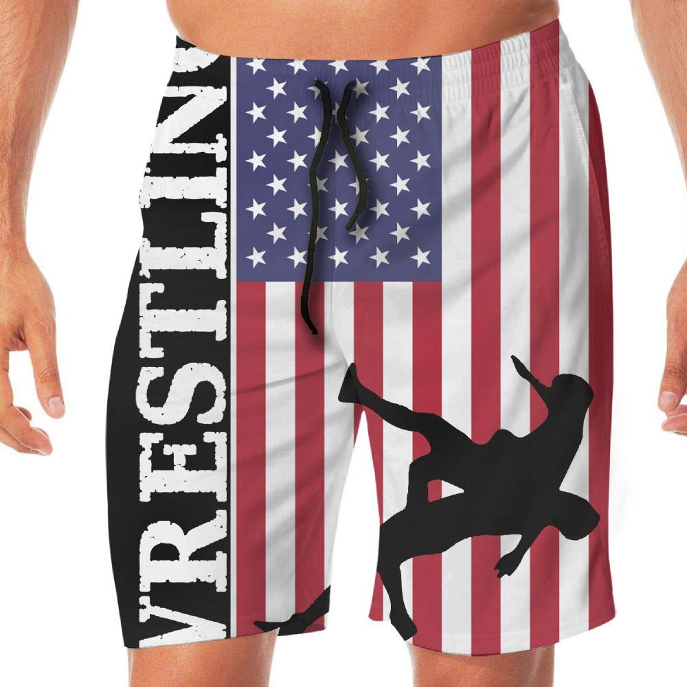 YGE.I.L25 Men's Swim Shorts USA Flag Wrestling Casual Sport Beach Board Short Adults Boys