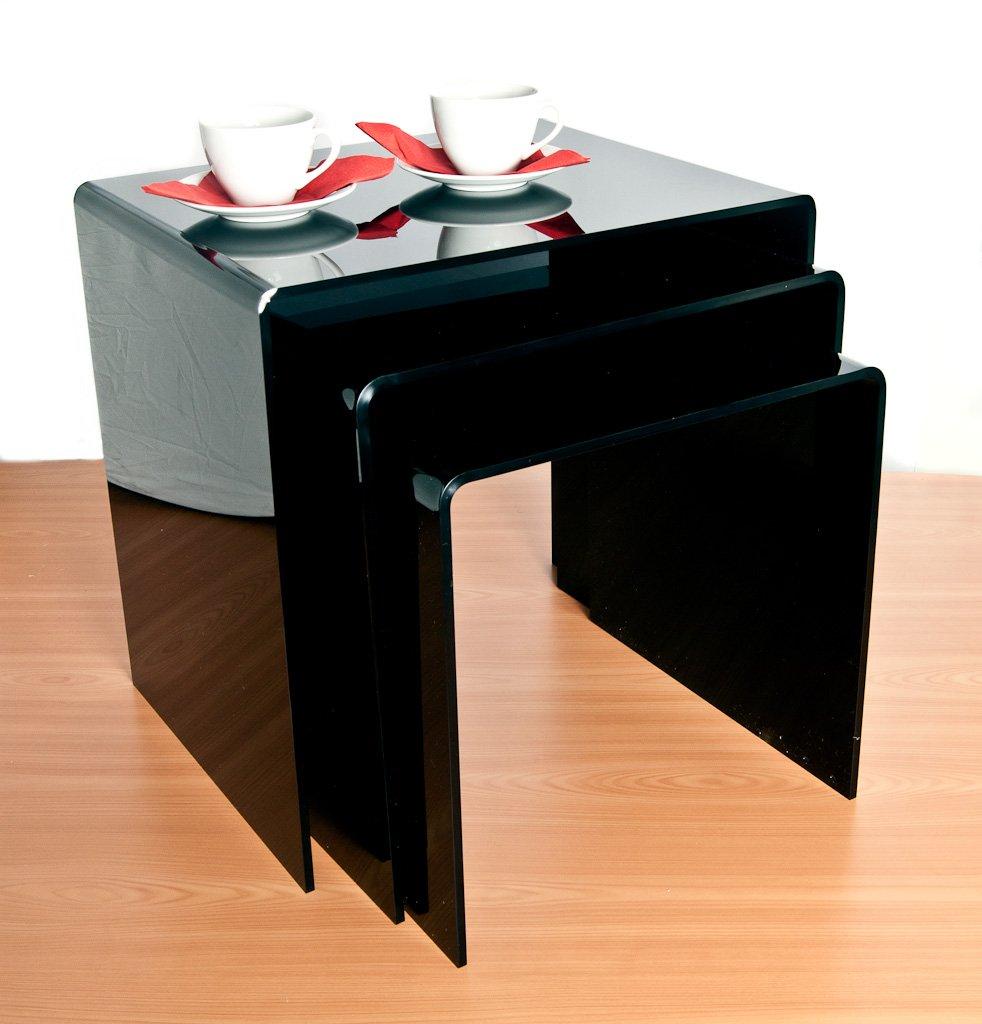 Black acrylic nest of tables set of 3 amazon kitchen home watchthetrailerfo