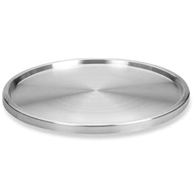 Lovotex 1 Tier Lazy Susan Stainless Steel 360 Degree Turntable – Rotating 2-Level Tabletop Stand for Your Dining Table, Kitchen Counters and Cabinets – Turning Table Spice Rack Organizer Tray